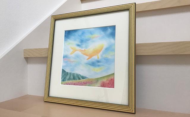 パステルアート『秋空光るくじら雲』