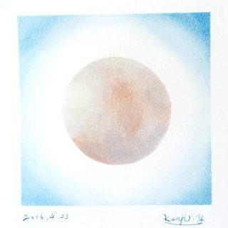 薄いグレーが手に触れたから 白い満月を描きました