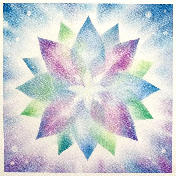 パステルアート「花の曼荼羅」