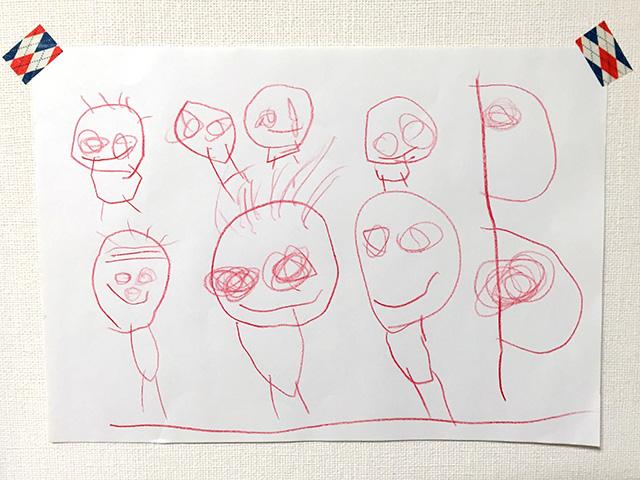子どもの絵「鯉のぼりと家族」