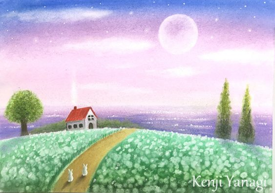 パステルアート「やさしい月明かりの中」