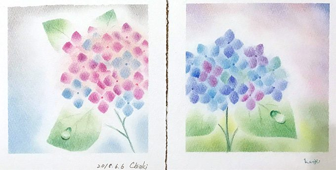 パステルアート「紫陽花」