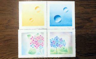 パステルアート「紫陽花と水滴」