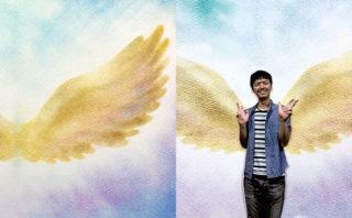 パステルアート「天使の羽」