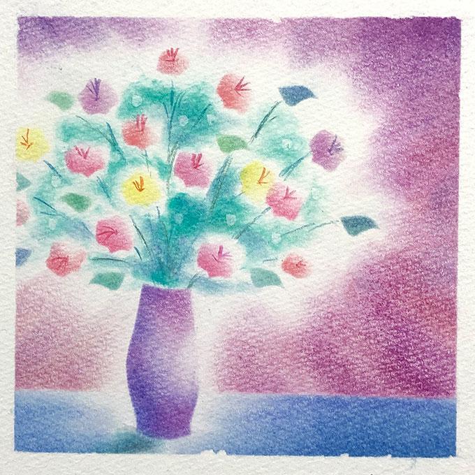 パステルアート「花瓶と花」
