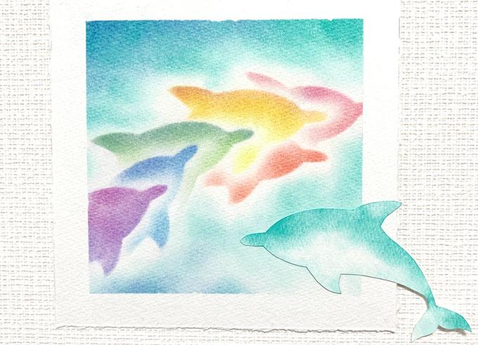 パステルアート「イルカ」