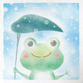パステルアート 雨降り蛙