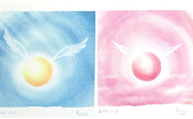 「丸い光の天使」パステルシャインアート