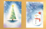 パステルアートで☆クリスマス☆型紙を押さえる方法
