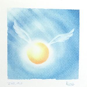 「丸い光の天使(ブルー)」パステルシャインアート
