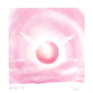 「丸い光の天使(ピンク)」パステルシャインアート