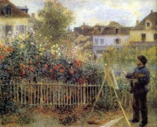 ルノワール『Claude Monet Painting in His Garden at Argenteuil』